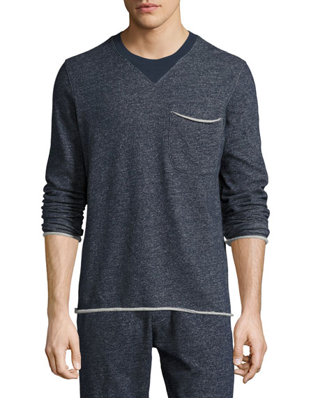 Brushed-Back Terry Raw-Cut Sweatshirt, Navy