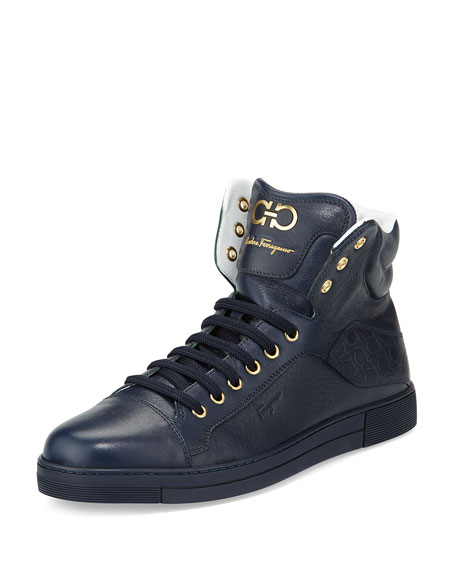 Salvatore Ferragamo Calfskin High-Top Sneaker, Navy