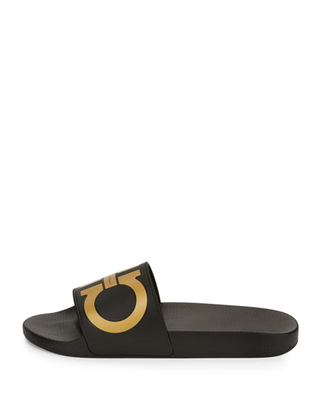 Gancini Slide Sandal, Black/Gold