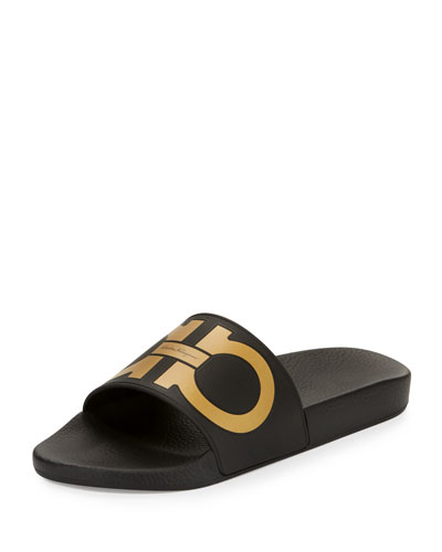Gancini Slide Sandal, Black/Gold