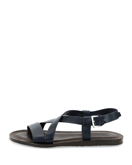 Men's Crisscross-Strap Calfskin Sandal, Navy/Brown