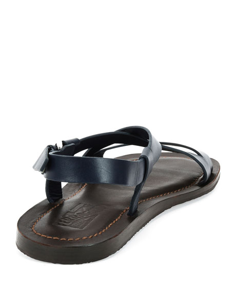 Men's Crisscross-Strap Calfskin Sandals, Navy/Brown
