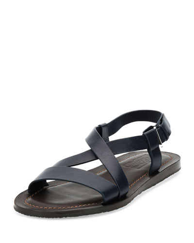 Crisscross-Strap Calfskin Sandal, Navy/Brown