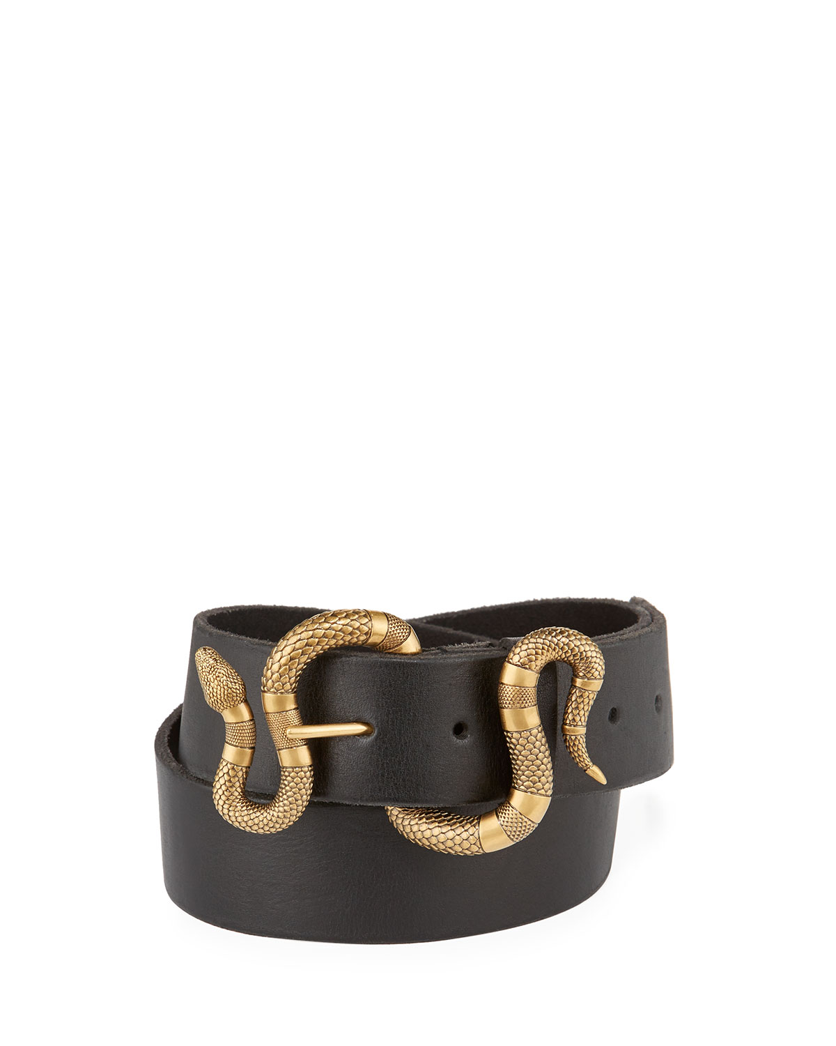 5cf538bd7 Gucci Leather Snake-Buckle Belt   Neiman Marcus