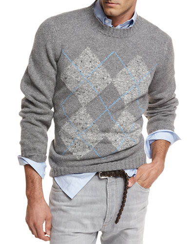 Argyle Wool-Cashmere-Silk Crewneck Sweater