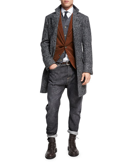 Brunello Cucinelli Glen Plaid Alpaca Single-Breasted Coat, Dark