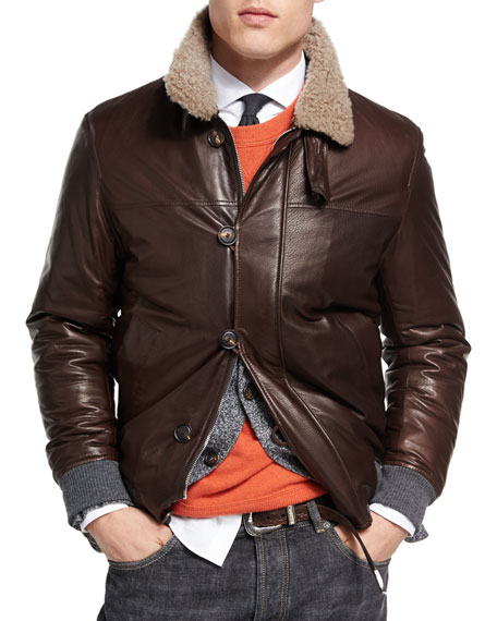 Brunello Cucinelli Leather Jacket with Shearling Collar
