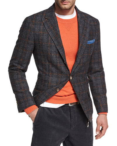 Glen Plaid Virgin Wool Sport Jacket, Dark Gray