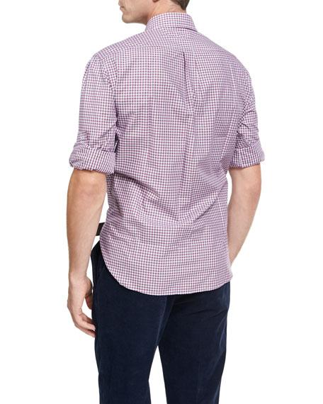 Multi-Check Twill Cotton Shirt, Red/White