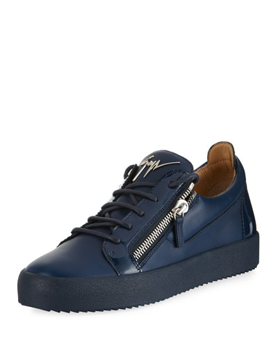 Men's London Double-Zip Leather Low-Top Sneaker