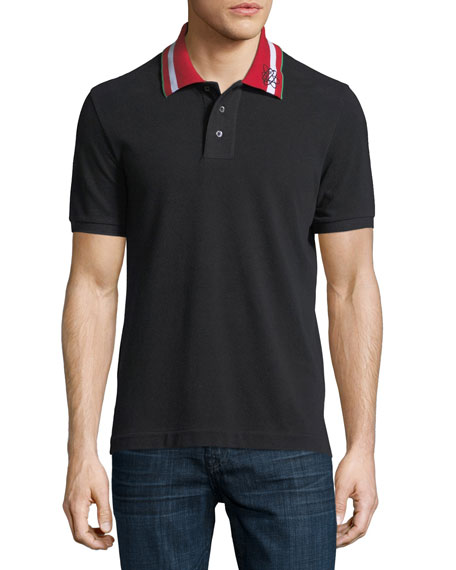 Bally Striped-Collar Polo Shirt, Black