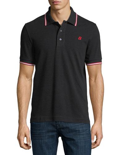 Striped Cotton Pique Polo Shirt, Black