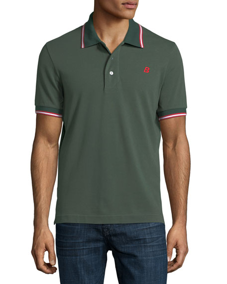 Bally Striped Cotton Pique Polo Shirt, Green