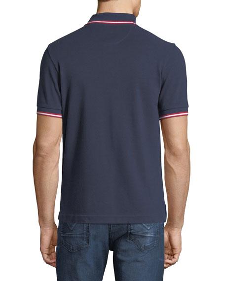 Striped Cotton Pique Polo Shirt, Navy