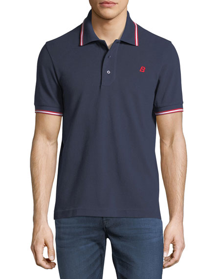 Bally Striped Cotton Pique Polo Shirt, Navy