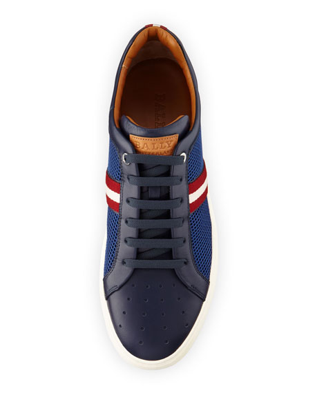 Herk Men's Mesh & Leather Low-Top Sneakers, Navy