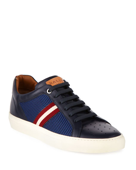 Bally Herk Men's Mesh & Leather Low-Top Sneaker,