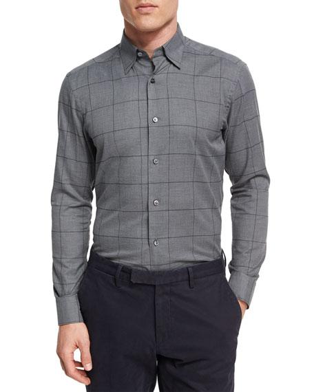 Ermenegildo Zegna Windowpane Check Cotton Shirt