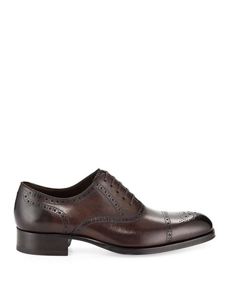 Edgar Medallion Cap-Toe Shoe, Brown