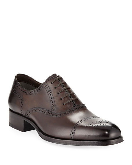 TOM FORD Edgar Medallion Cap-Toe Shoe, Brown