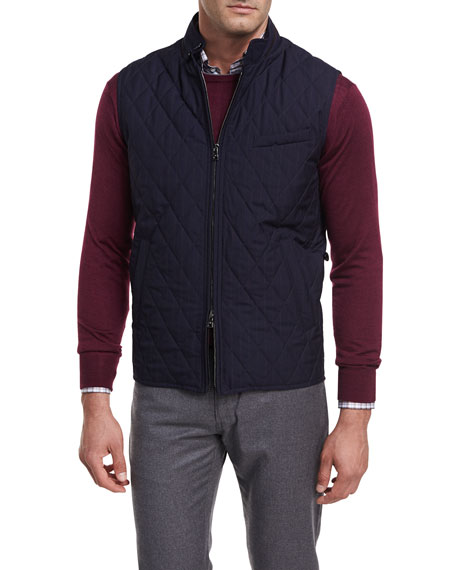 Peter Millar Caledonia Diamond-Quilted Pinstripe Wool Vest