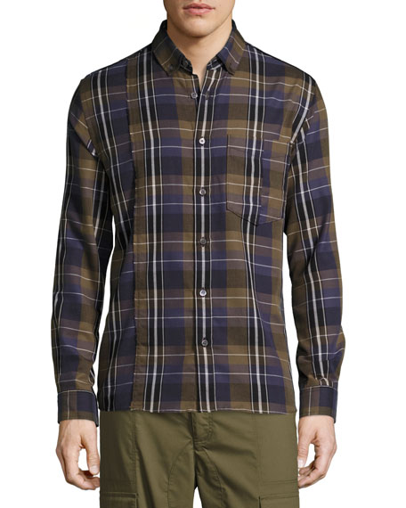 Public School Retro Plaid Cotton Exposed-Seam Shirt