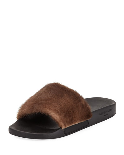 Men's Mink Fur Slide Sandal, Brown