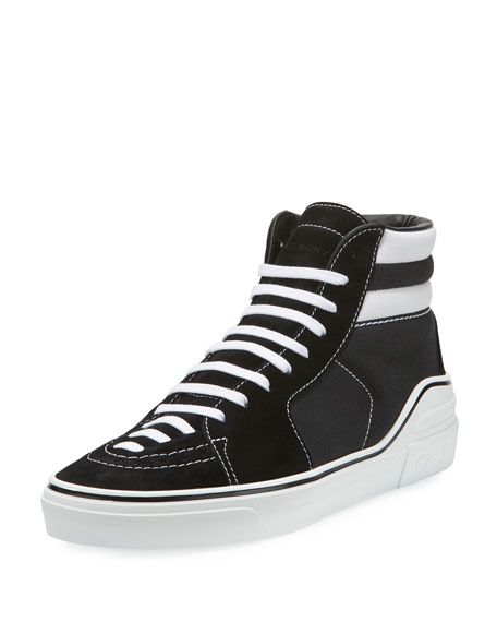 Givenchy George Canvas High-Top Sneaker, Black/White