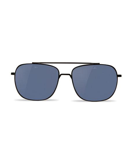 Vuarnet Swing Titanium Rectangular Aviator Polarized Sunglasses, Matte Black/Blue