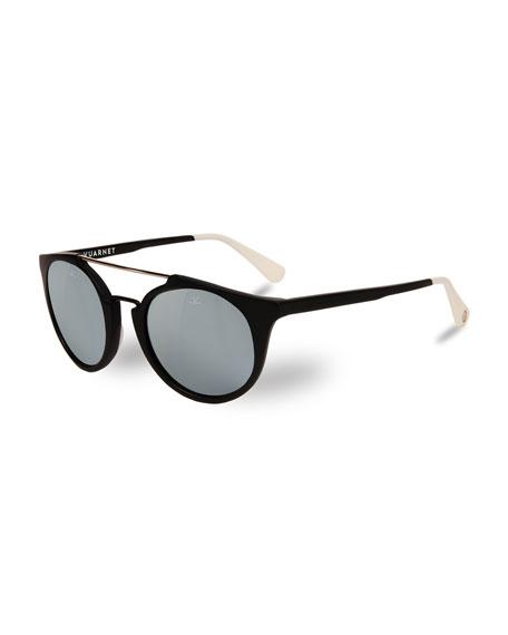 Cable Car Round Sunglasses, Black/White