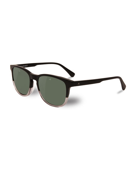 Vuarnet District Two-Tone Square Polarized Sunglasses, Black/Crystal