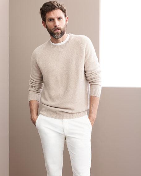 Tuck-Stitch Cashmere Crewneck Sweater
