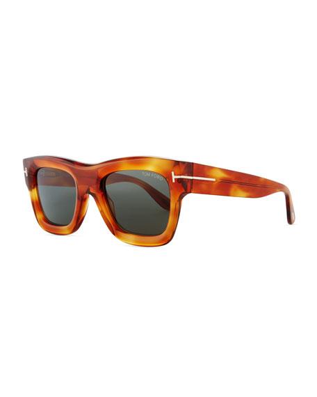 Wagner Thick Square Sunglasses, Blonde Havana