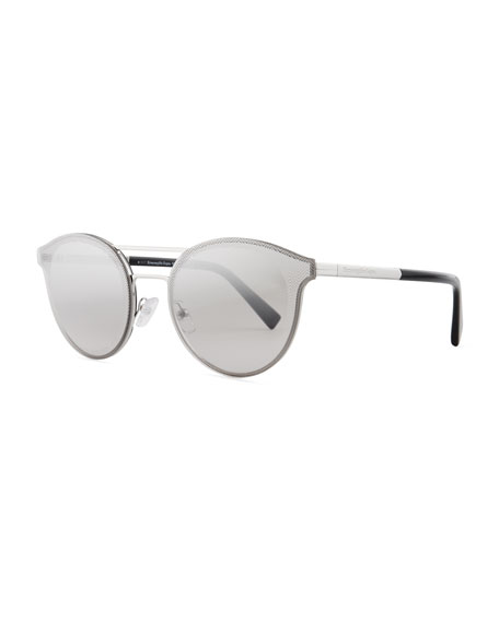 Ermenegildo Zegna Rectangular Chevron Sunglasses, Blue
