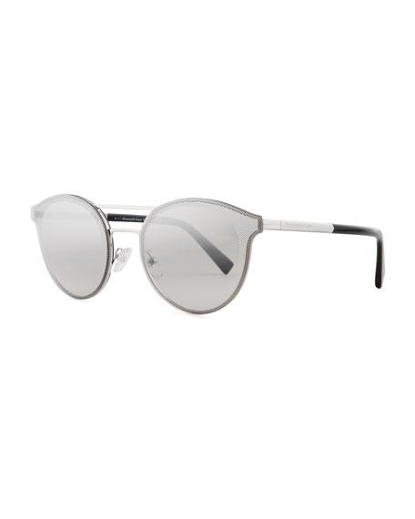 Ermenegildo Zegna Rectangular Chevron Sunglasses, Blue
