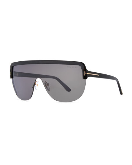 Angus Half-Rim Shield Sunglasses, Shiny Black/Smoke