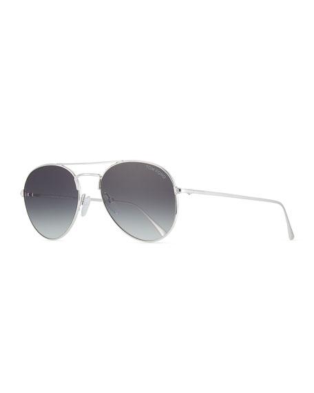 TOM FORD Ace Metal Pilot Sunglasses, Shiny Rhodium/Gradient