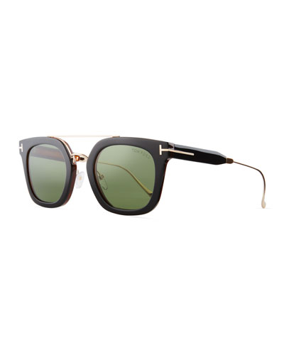 Alex Acetate & Metal Square Sunglasses, Black/Havana/Rose Golden/Green