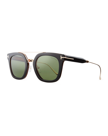 Alex Acetate & Metal Square Sunglasses, Black/Havana/Rose Golden/Green