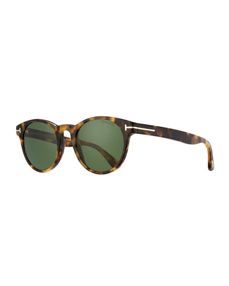 TOM FORD Palmer Round Acetate Sunglasses, Shiny Tortoise/Green