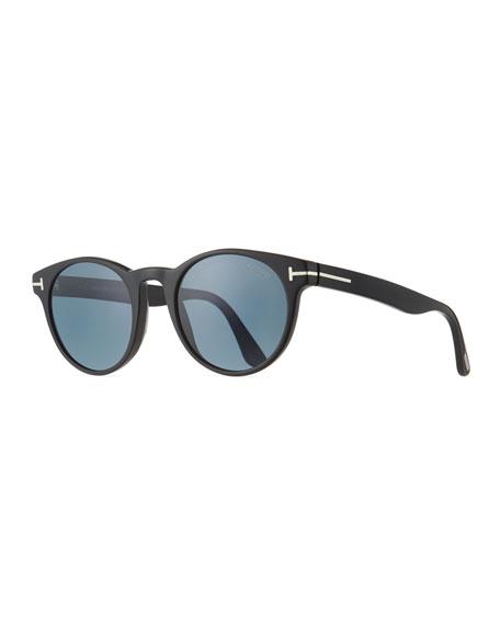 TOM FORD Palmer Polarized Round Acetate Sunglasses, Black/Blue