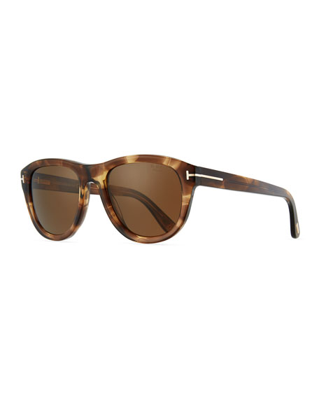 Benedict Polarized Soft Square Sunglasses, Shiny Striped Brown/Brown