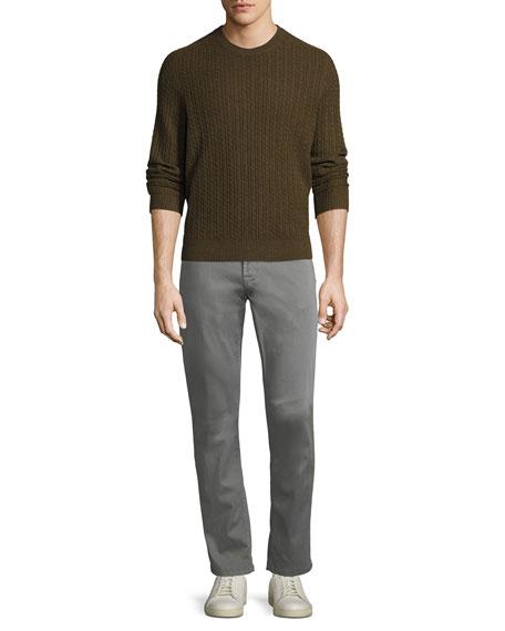 Stretch-Cotton Five-Pocket Pants, Medium Gray