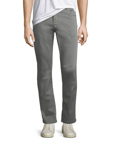 Stretch-Cotton Five-Pocket Pants, Medium Gray