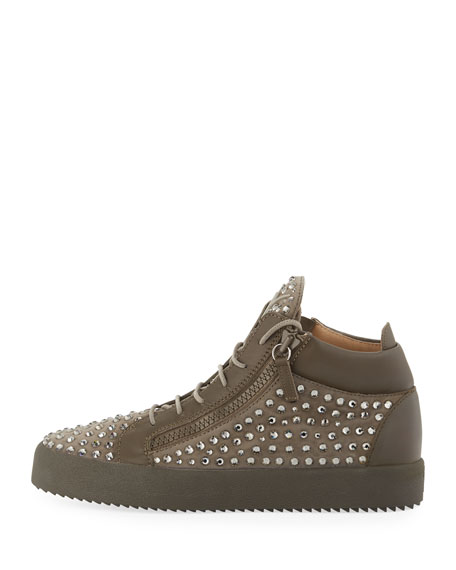 Men's Swarovski Crystal Studded Suede Mid-Top Sneaker