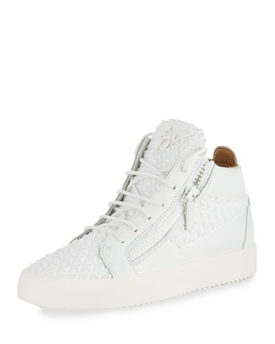 Men's Pyramid Leather Mid-Top Sneaker, White