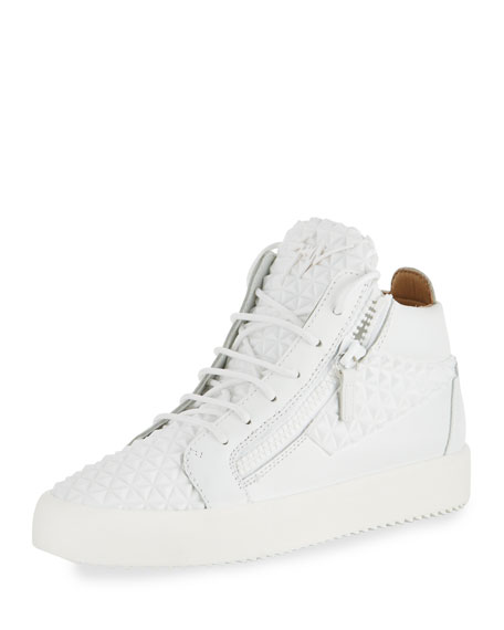 Giuseppe Zanotti Men's Pyramid Leather Mid-Top Sneaker, White