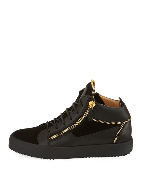 men's Velvet & Leather Zipper Mid-Top Sneaker
