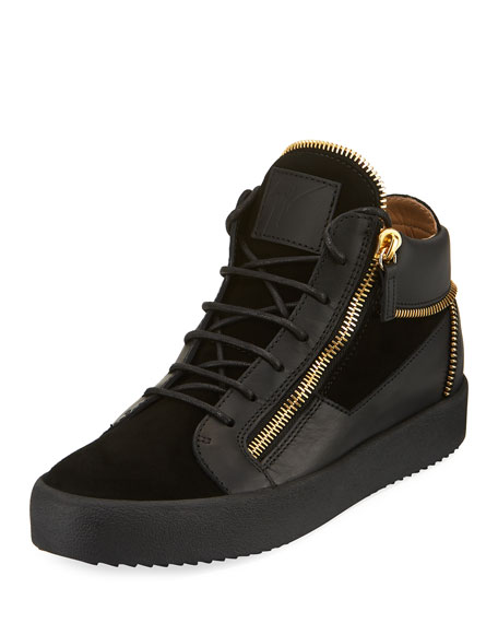 men's Velvet & Leather Zipper Mid-Top Sneakers