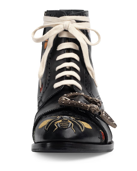Queercore Embroidered Leather Brogue Boot